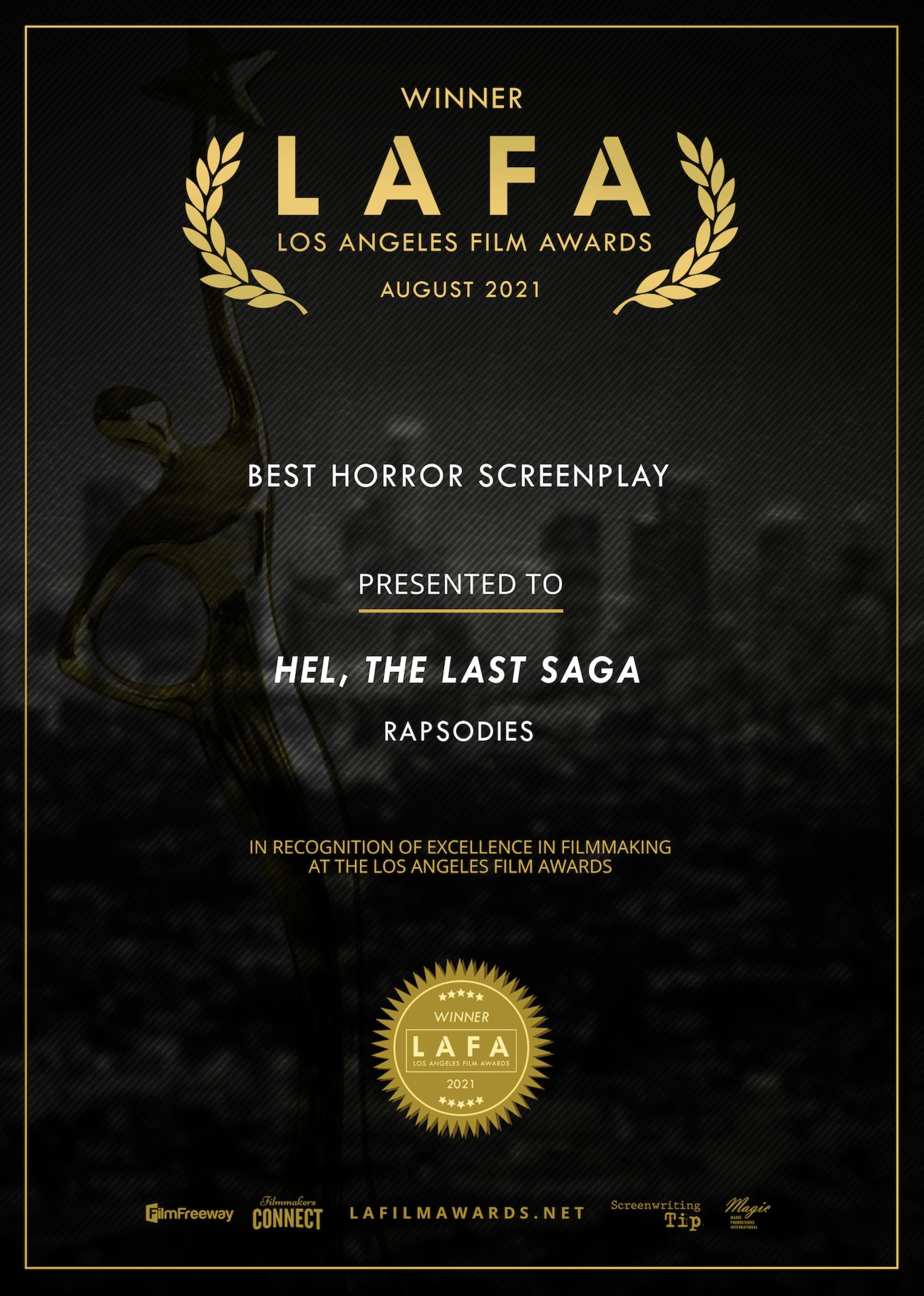 Hel, the last saga - Best Horror Screenplay